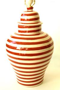 Burnt Orange Striped Lamp - EmiliaCeramics.com