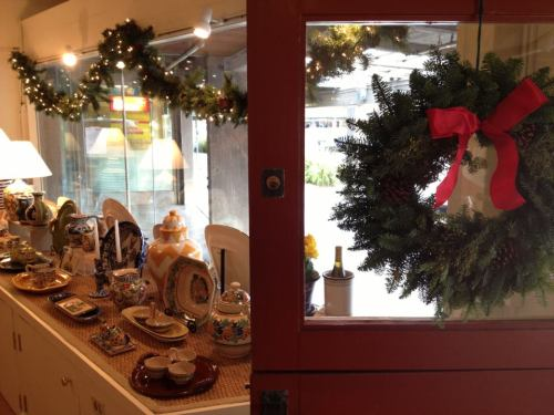 Christmas wreath and handmade ceramics