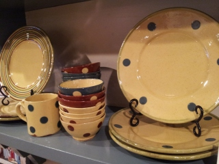 polka dot plates bowls