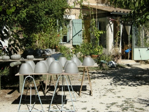 French ceramics drying in the sun